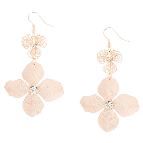 Claire's - rose blush flower drop earrings - 1