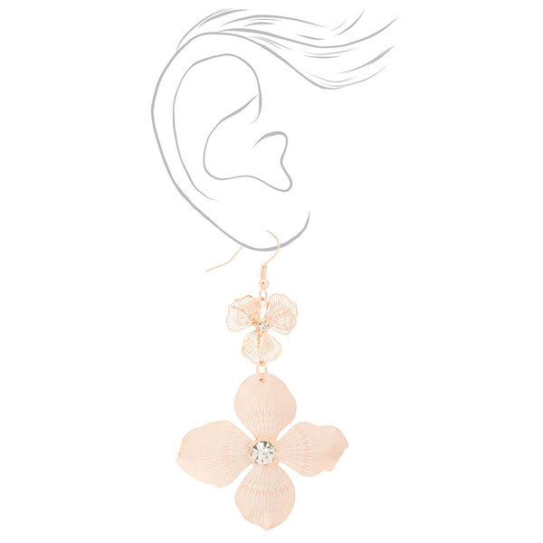 Claire's - rose blush flower drop earrings - 2