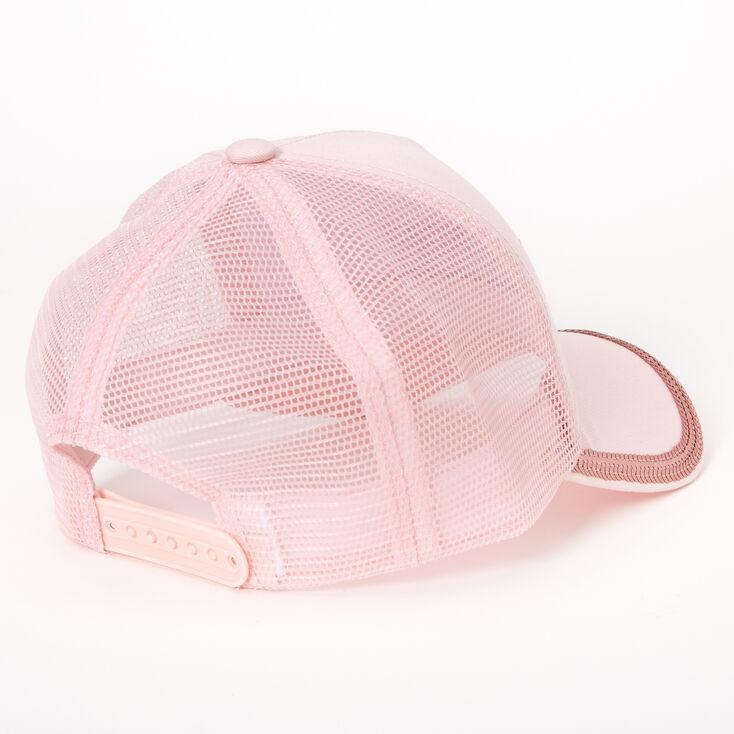 Love Sequin Lined Trucker Hat - Pink,