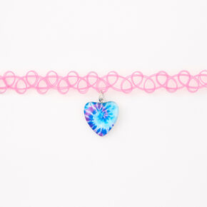 Tie Dye Heart Tattoo Choker Necklace - Pink,