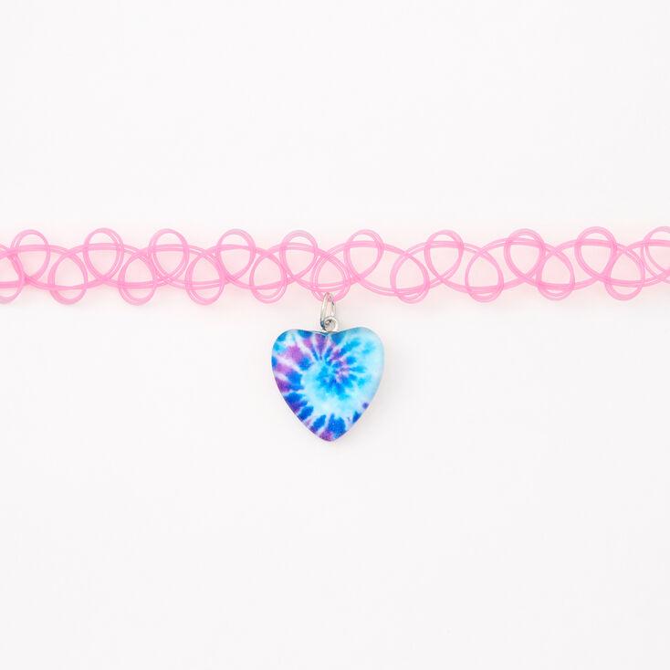 Tie Dye Heart Tattoo Choker Necklace - Pink,
