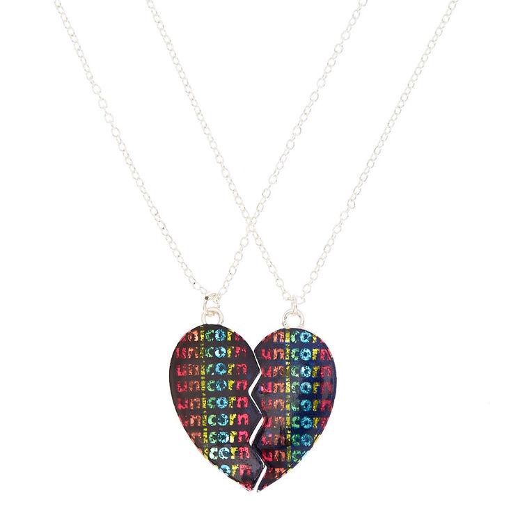 b3f8b7fb07 Best Friends Unicorn Heart Pendant Necklaces - Black, 2 Pack | Claire's