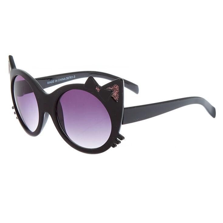 Claire's Club Round Cat Sunglasses - Black,