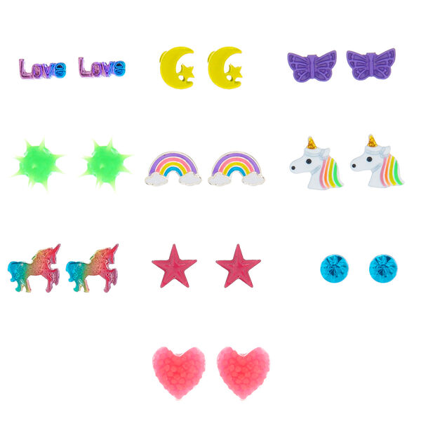 Claire's - rainbow magic stud earrings, 9 pack - 1