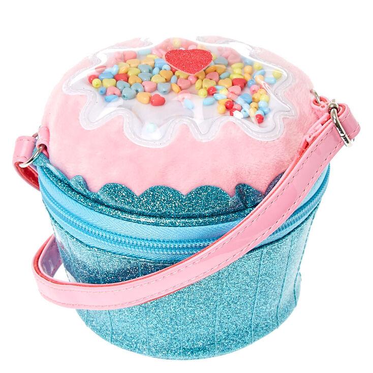 Kids Blue Glitter Cupcake Crossbody Bag