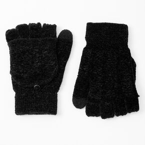 Chenille Fingerless Gloves With Mitten Flap - Black,