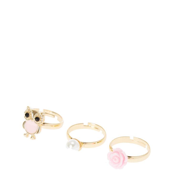 Gold Owl Rose Adjustable Ring Set - Pink, 3 Pack,