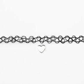 Silver Puffy Heart Tattoo Choker Necklace - Black,