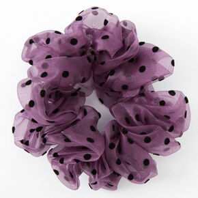 Giant Sheer Polka Dot Hair Scrunchie - Purple,