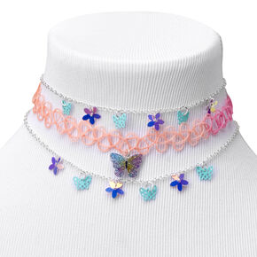 Claire's Club Butterfly Choker Necklaces - Purple,