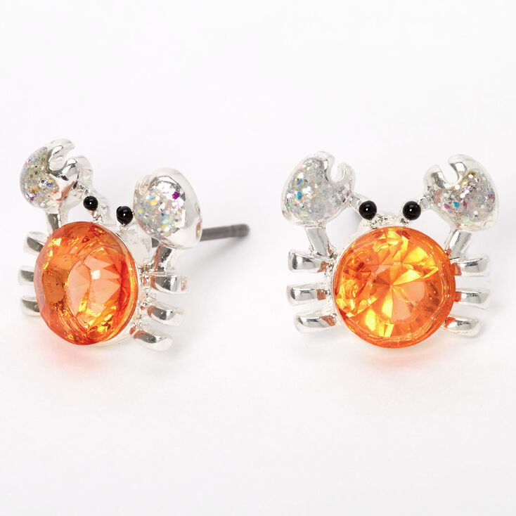 Silver Stone Crab Stud Earrings - Coral,
