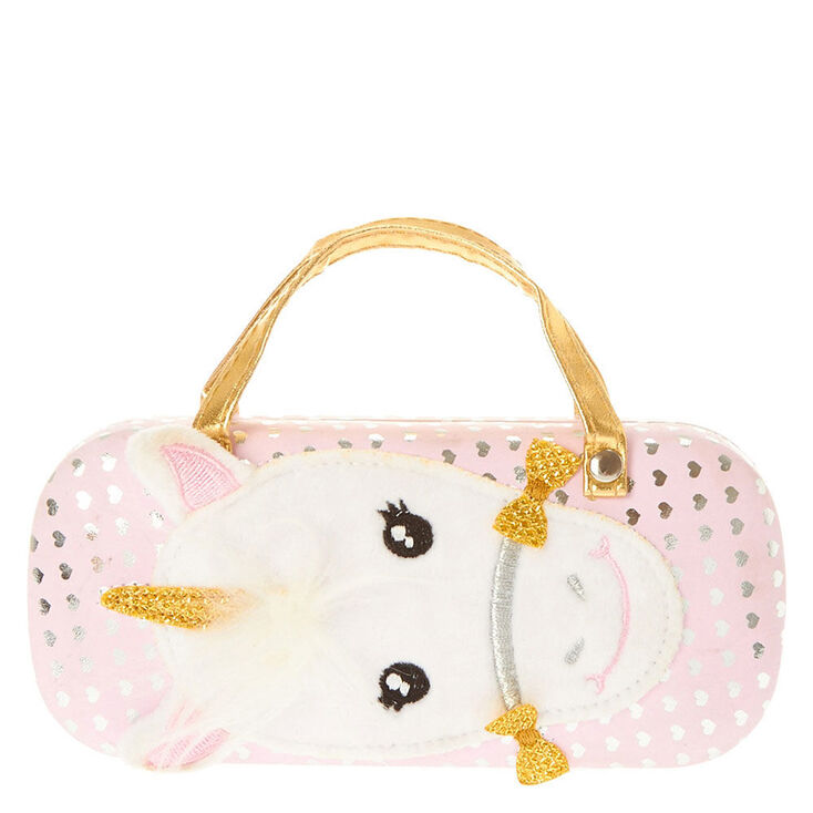 dfde4db1998a Kid Fuzzy Unicorn Polka Dot Hearts Glasses Case   Claire s FR