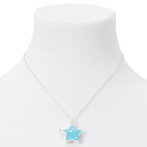 Silver Glow in the Dark Confetti Star Locket Pendant Necklace - Blue,