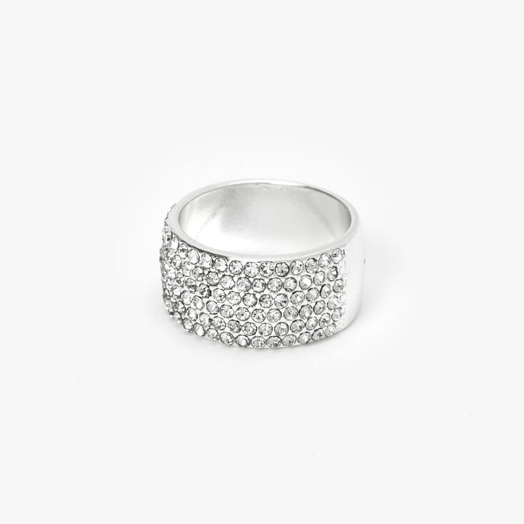 Silver Embellished Thick Band Ring,