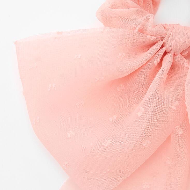 Dotted Organza Bow Hair Scrunchie - Blush Pink,