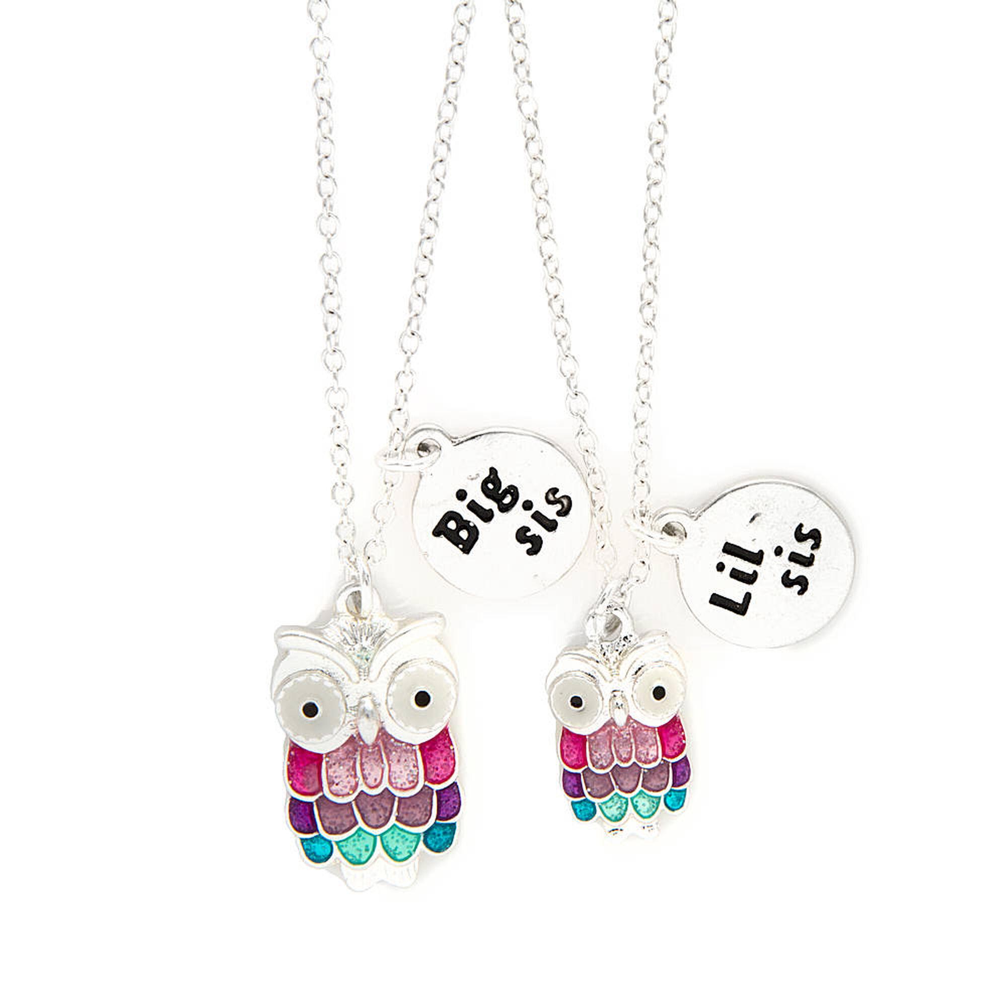 Big sis little sis pastel glitter owl pendant necklaces claires ca big sis little sis pastel glitter owl pendant necklaces mozeypictures Choice Image