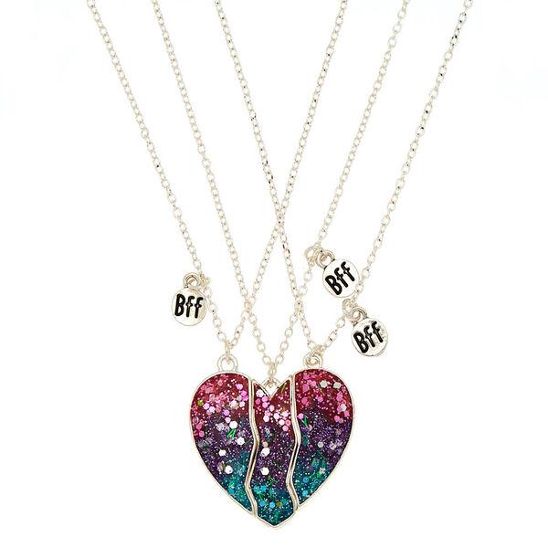 Claire's - best friends ombre glitter heart pendant necklaces - 1