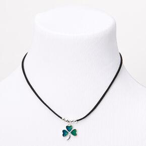 Mood Shamrock Pendant Cord Necklace,