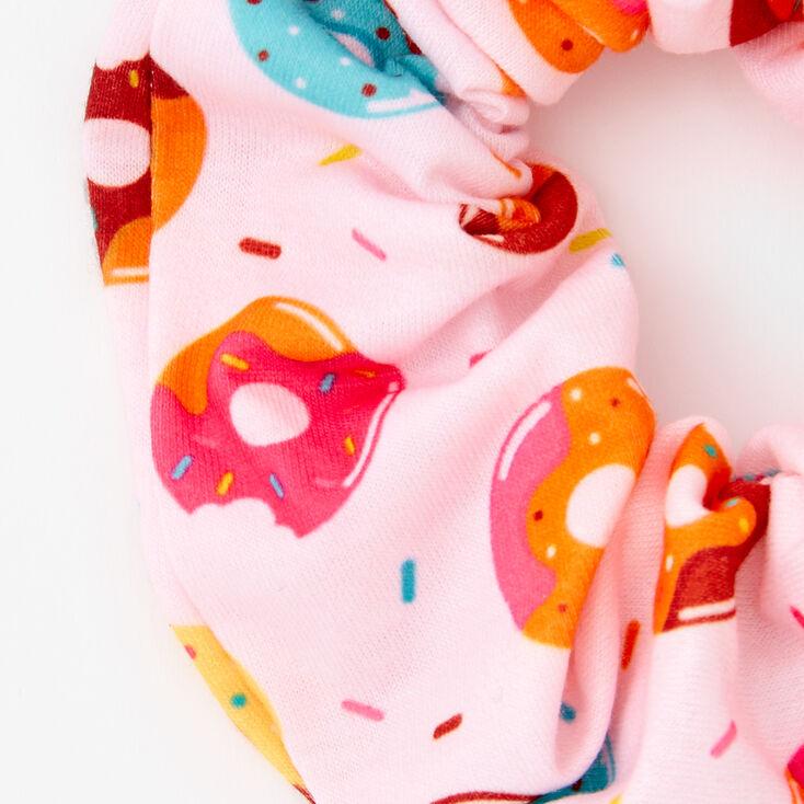 Donut Print Hair Scrunchie - Pink,