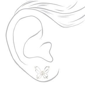 Clous d'oreilles papillon ajourés ornementés couleur argentée,