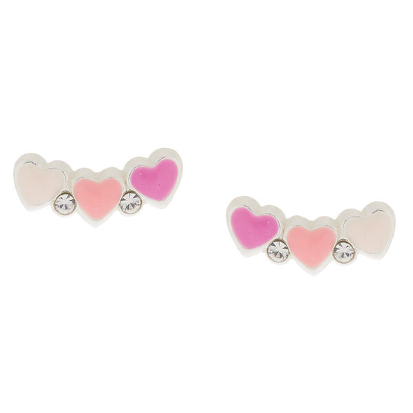 Claire's - sterling heart cluster stud earrings - 1