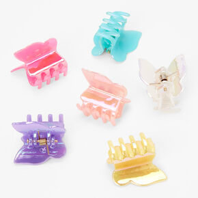 Glossy Pastel Butterfly Mini Hair Claws - 6 Pack,
