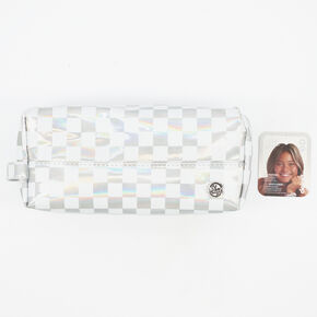 Sky Brown™ Checkered Pencil Case– Holographic,