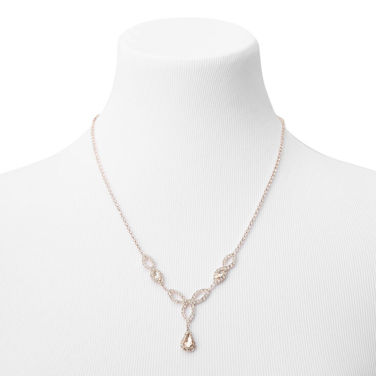 Rose Gold Silk Rhinestone Celtic Loopy Statement Necklace,