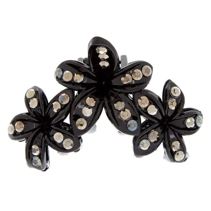 Medium Flower Rhinestone Hair Claw - Black,