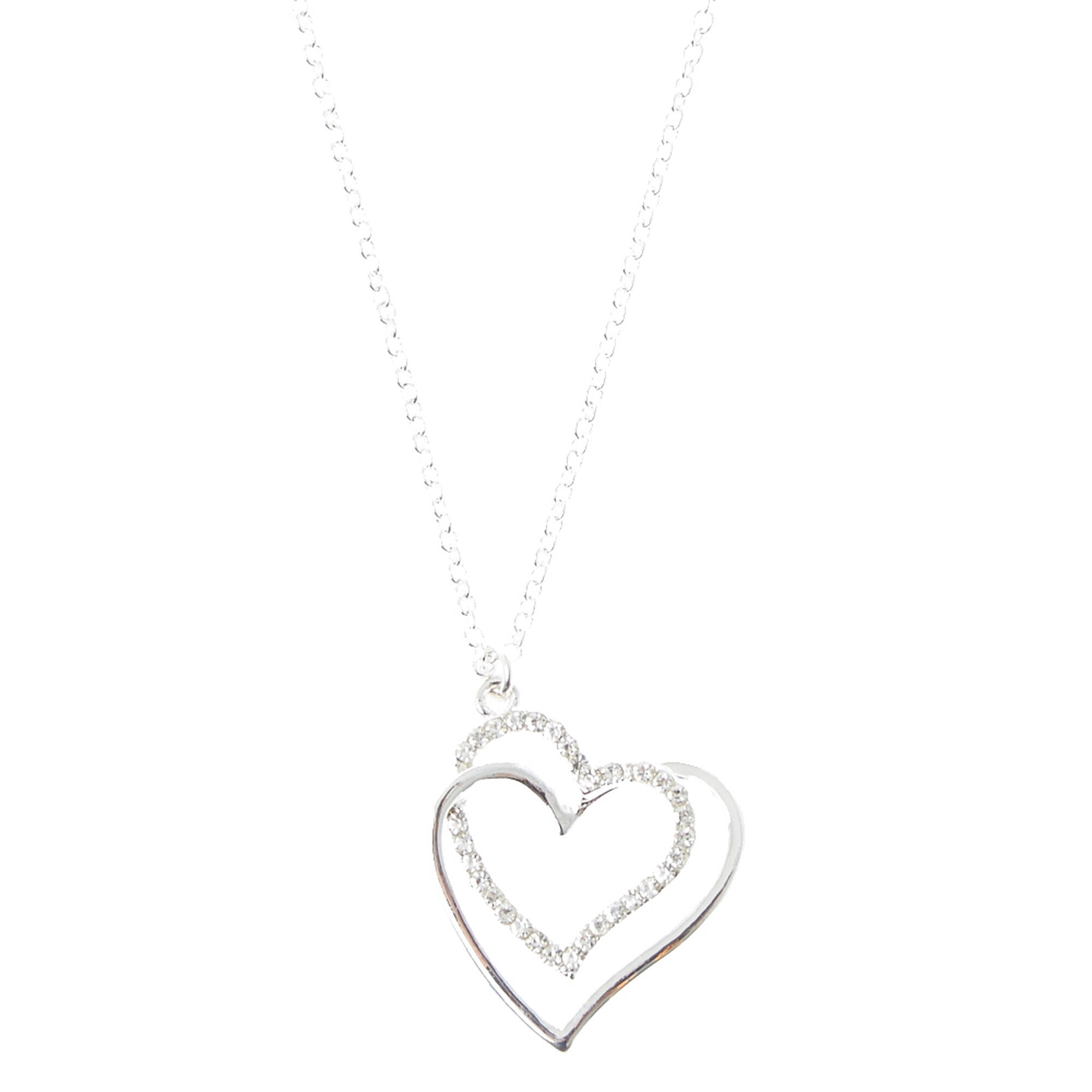 Silver crystal heart pendant claires silver crystal heart pendant aloadofball Images