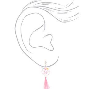 """Silver 2"""" Unicorn Dreamcatcher Clip On Drop Earrings - Pink,"""