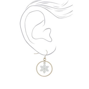 "1"" Snowflake Hoop Drop Earrings - White,"