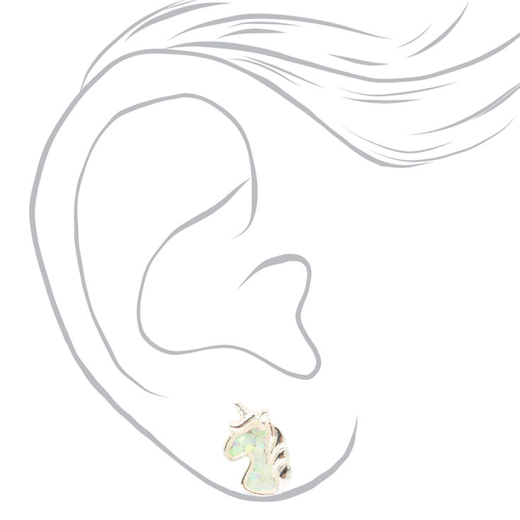 Silver Iridescent Unicorn Head Stud Earrings,