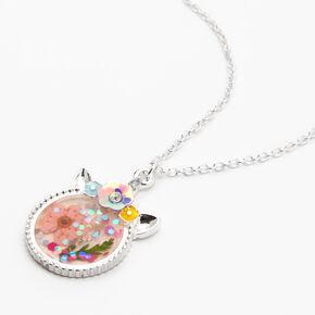Silver Flowery Unicorn Pendant Necklace,