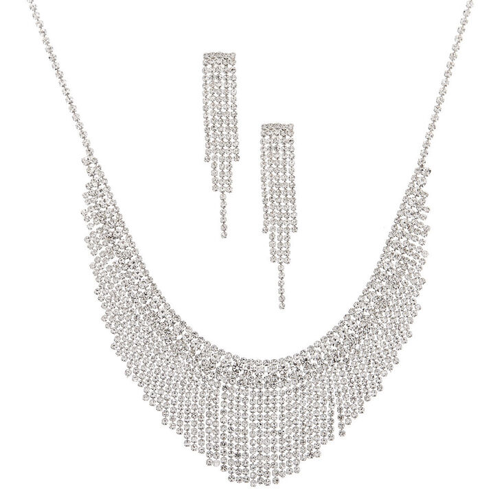 Silver Rhinestone Waterfall Jewelry Set - 2 Pack,