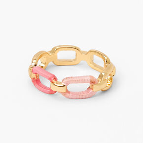 Gold Threaded Chain Link Ring - Pink,