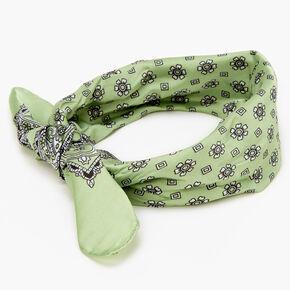 Bandeau bandana soyeux imprimé floral et cachemire- Vert clair,