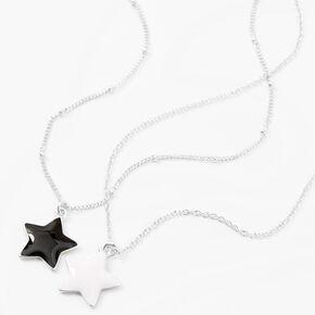 Black & White Best Friends Star Pendant Necklaces - 2 Pack,