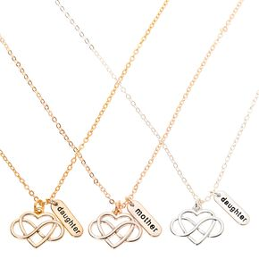 Mother Daughter Infinity Heart Pendant Necklaces - 3 Pack,