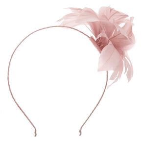 Feather Flower Hair Fascinator Headband - Nude,