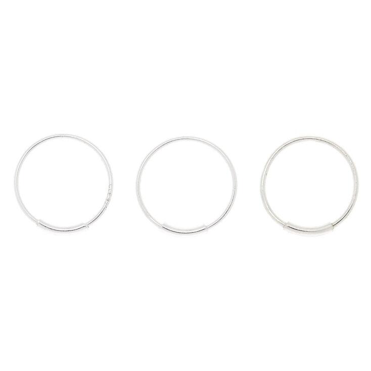 Sterling Silver 22G Bar Hoop Nose Rings - 3 Pack,