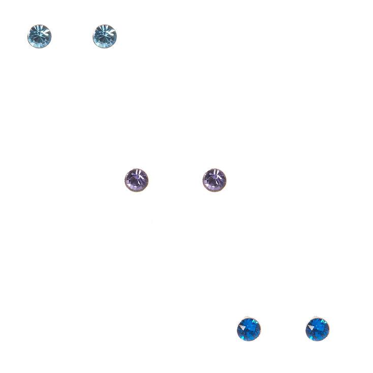 Sterling Silver Crystal Blue Earrings,