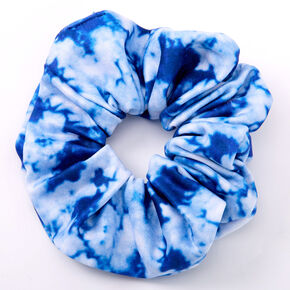 Medium Tie Dye Hair Scrunchie - Blue,