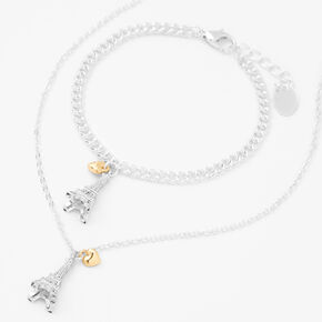 Silver Eiffel Tower Jewelry Set - 2 Pack,