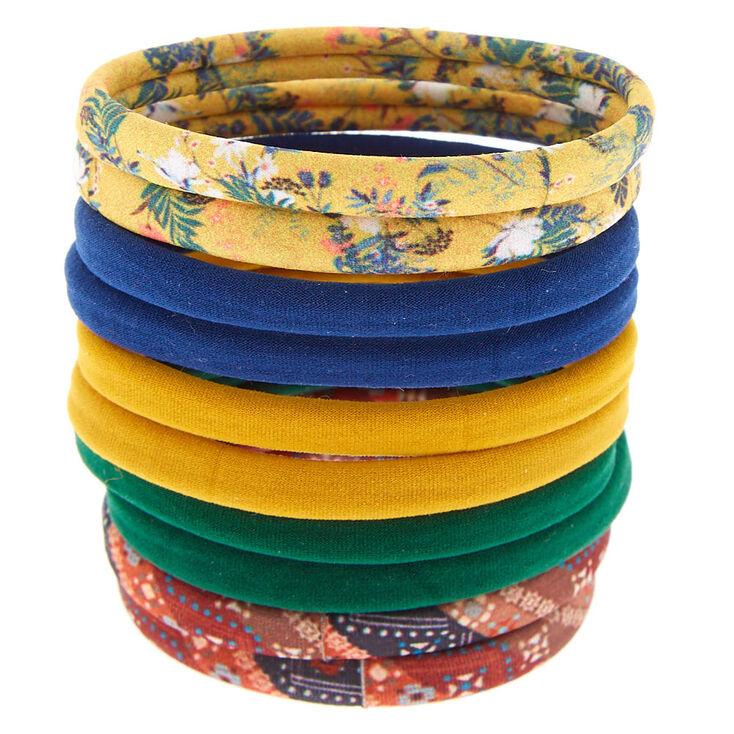 Rolled Vintage Floral Hair Ties - 10 Pack,