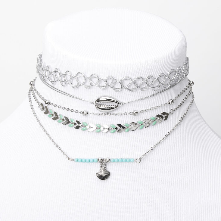 Silver Day At The Beach Mixed Choker Necklaces - Turquoise, 5 Pack,