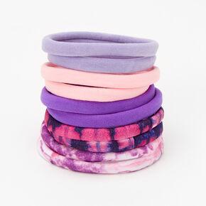 Mixed Purples Rolled Hair Ties - 10 Pack,