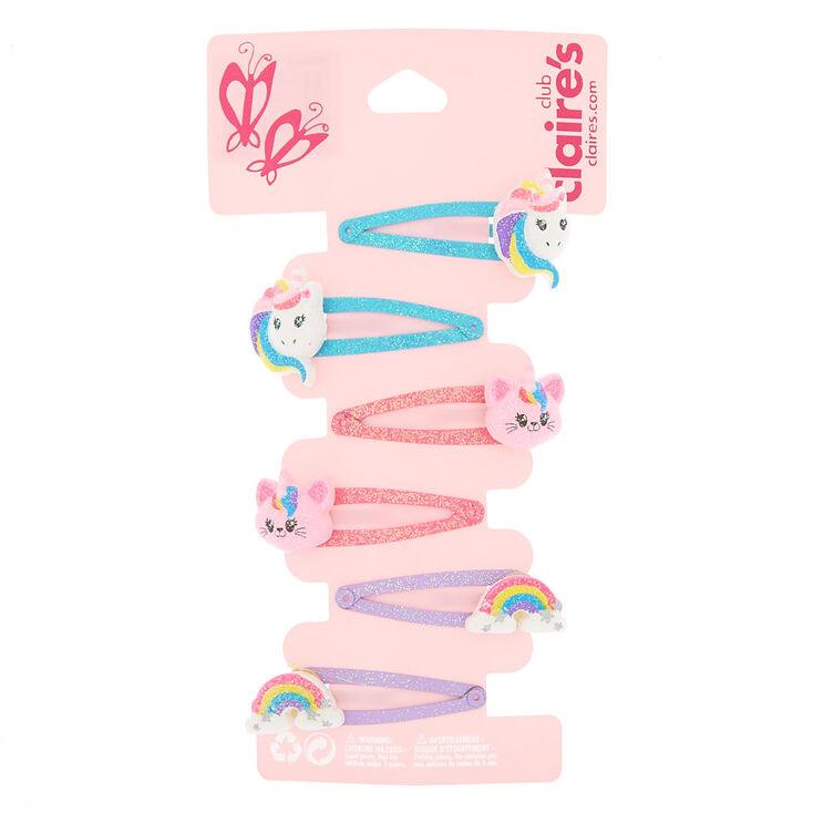 Claire's Club Rainbow Snap Hair Clips - 6 Pack,