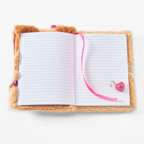 Puppy Furry Lock Diary - Brown,