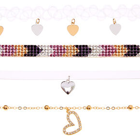 Mixed Metal Chevron Heart Mixed Choker Necklaces - 4 Pack,